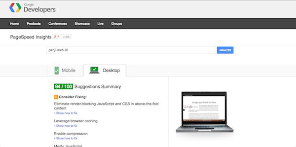 GooglePageSpeed-result