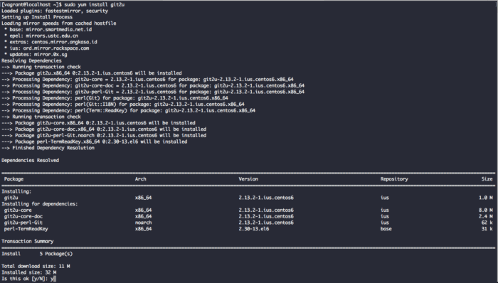 install latest version of Git on CentOS 6 from IUS repository