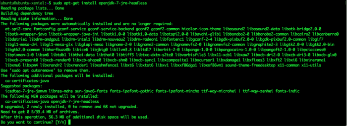 JRE headless on ubuntu 16.04