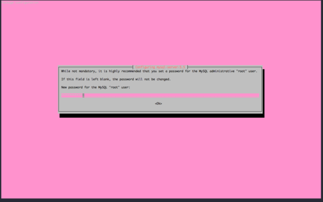 install MySQL 5.5 enter root password
