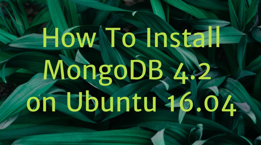 Install MongoDB 4.2 Ubuntu 16.04
