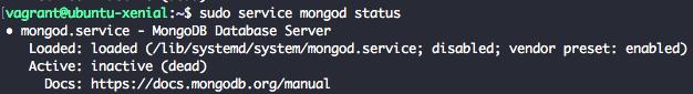 Check MongoDB 3.4 service status with service