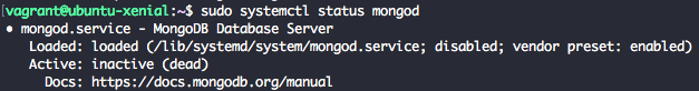 Check MongoDB 3.4 service status with systemctl