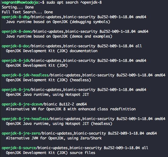 install openjdk 8 ubuntu 18.04 - apt search openjdk-8
