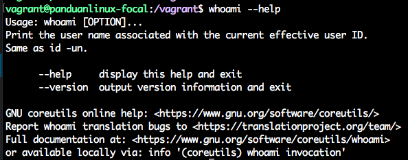 Linux whoami command - help