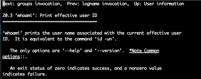 Linux whoami command - info page