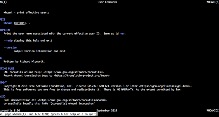 linux whoami command - man page