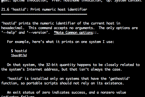 Linux hostid command info page