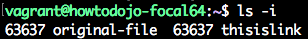 linux link command ls -i result