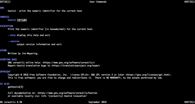 Linux hostid command man page