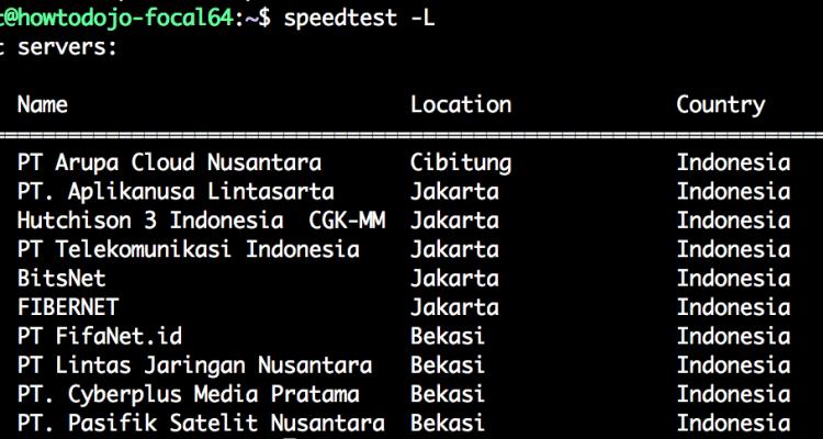 speedtest cli Ubuntu - listing speedtest servers